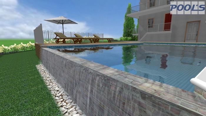 Pool 39 s software professionale per la progettazione di for Piscina con cascata