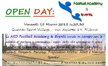 open day football academy and events