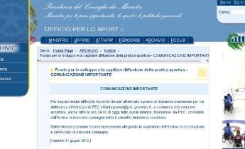 Ufficio Per Lo Sport.Bando Statale Per La Diffusione Della Pratica Sportiva
